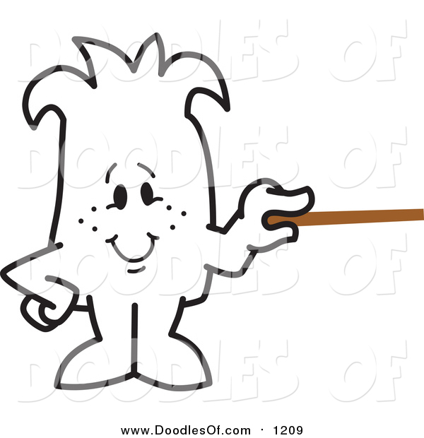 Vector Clipart of a Doodled Squiggle Guy Holding a Pointer Stick