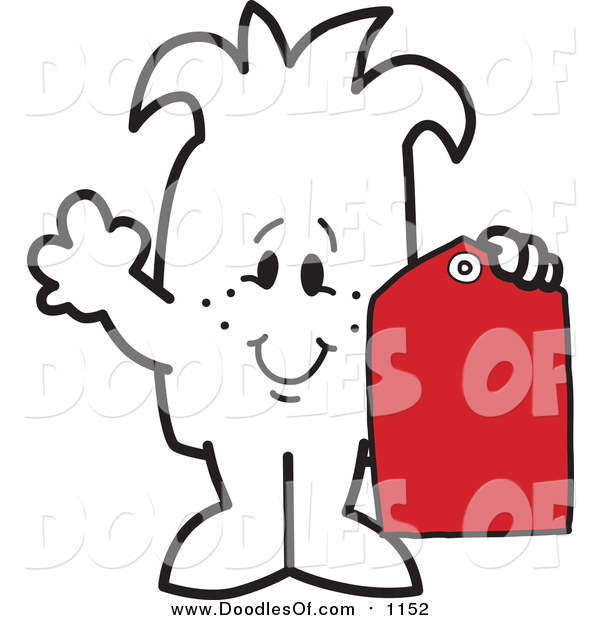 Vector Clipart of a Doodled Squiggle Guy Holding a Price Tag