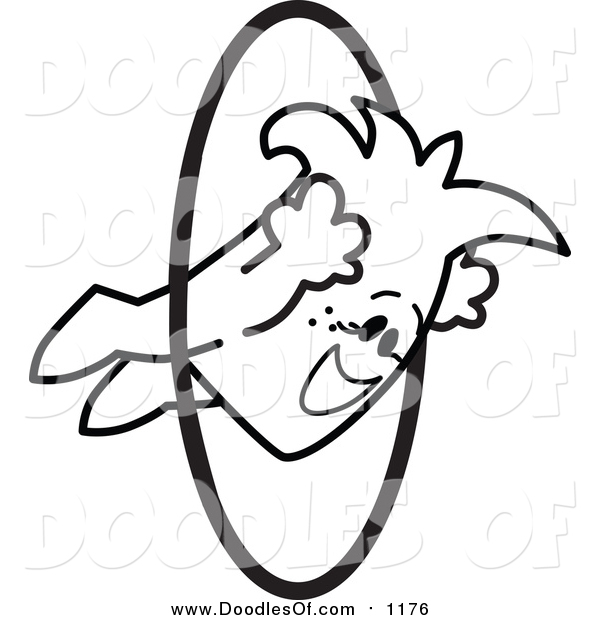 Vector Clipart of a Doodled Squiggle Guy Jumping Through Hoops