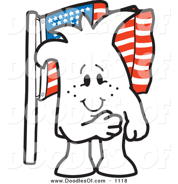 Vector Clipart of a Doodled Squiggle Guy Pledging Allegiance to the American Flag