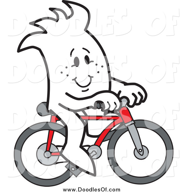 Vector Clipart of a Doodled Squiggle Guy Riding a Bike