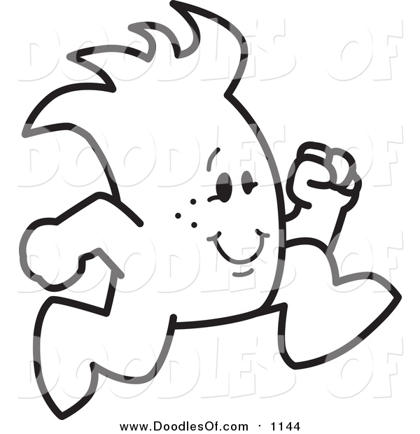 Vector Clipart of a Doodled Squiggle Guy Running