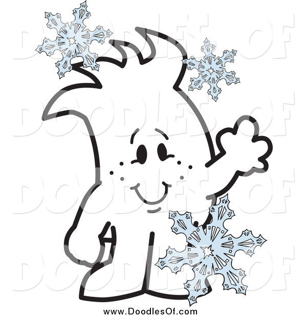 Vector Clipart of a Doodled Squiggle Guy with Snowflakes
