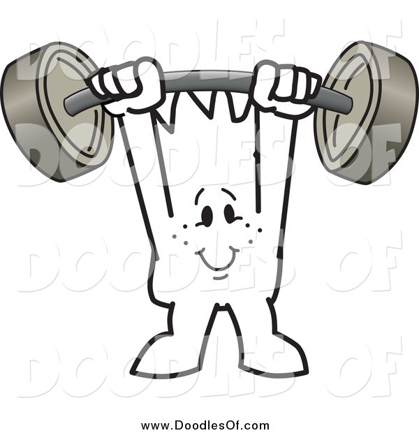 Vector Clipart of a Doodled Squiggle Man Guy Holding a Barbell Above His Head