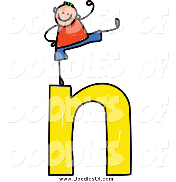 Vector Clipart of a Doodled Stick Boy Cheering on a Lowercase Letter N