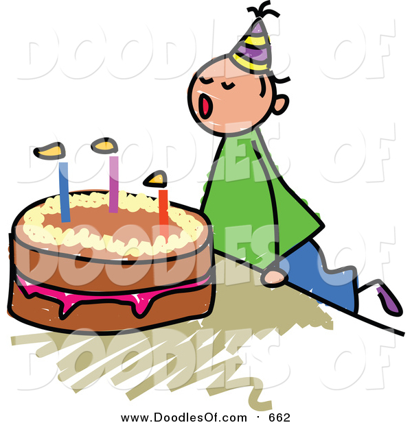 Vector Clipart of a Doodled White Birthday Boy Blowing out His Cake Candles