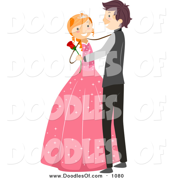 Vector Clipart of a Doodled White Birthday Girl Dancing a Waltz with a Boy