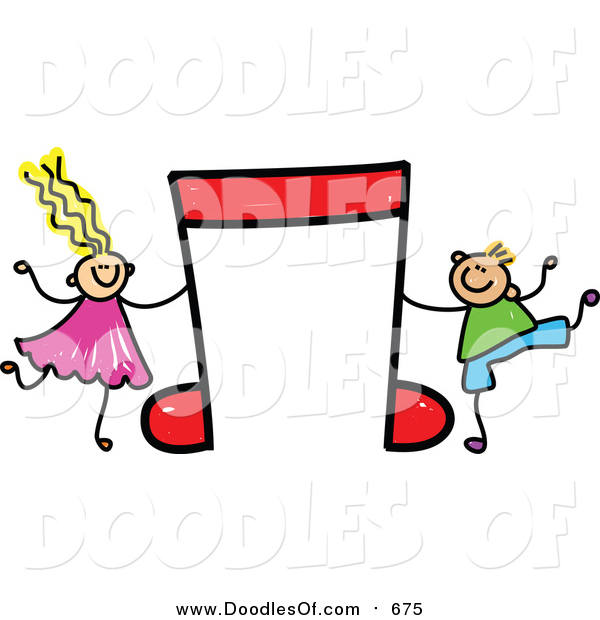 Vector Clipart of a Doodled White Boy and Girl with a Red Music Note