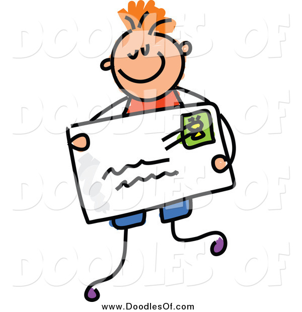 Vector Clipart of a Doodled White Boy Holding an Envelope