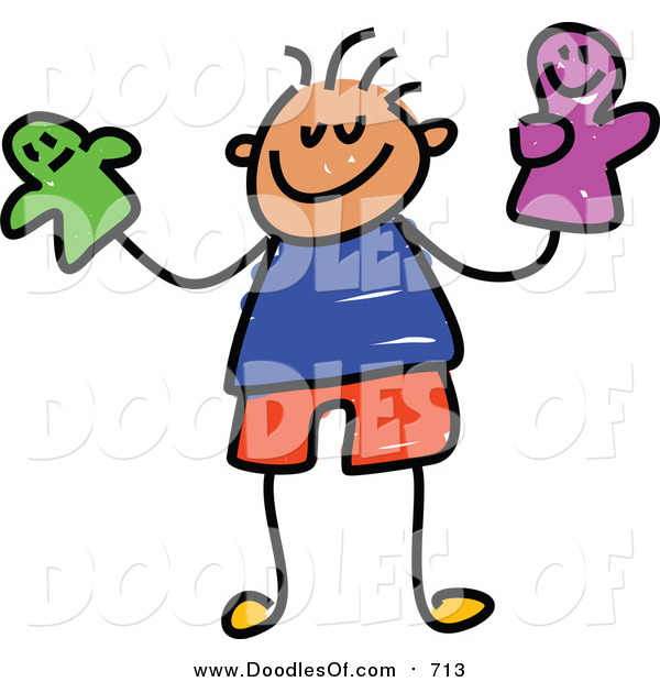 Vector Clipart of a Doodled White Boy Holding Puppets