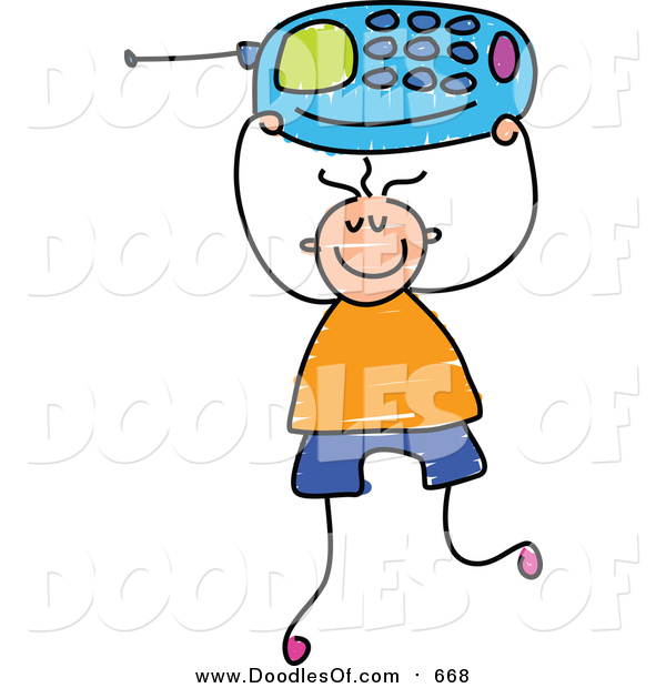 Vector Clipart of a Doodled White Boy Holding up a Blue Cell Phone