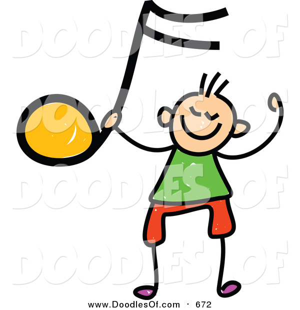 Vector Clipart of a Doodled White Boy Holding up an Orange Music Note