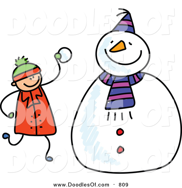 Vector Clipart of a Doodled White Boy Making a Snowman