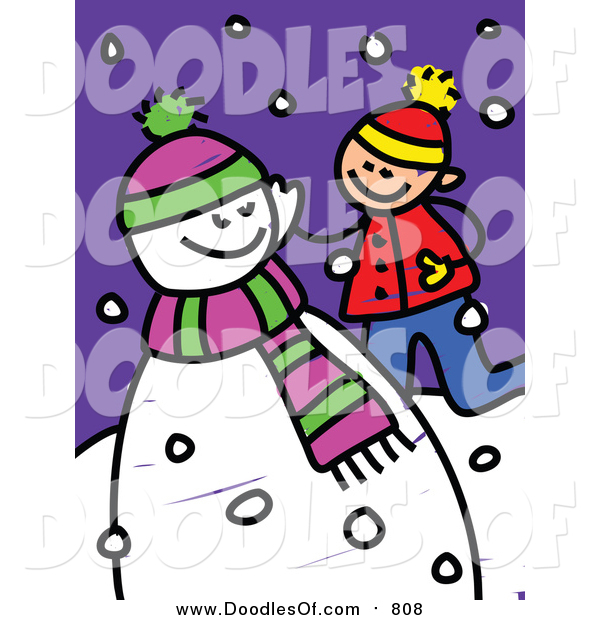 Vector Clipart of a Doodled White Boy Playing by a Snowman
