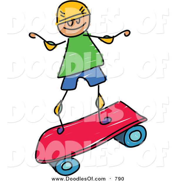 Vector Clipart of a Doodled White Boy Riding a Pink Skateboard