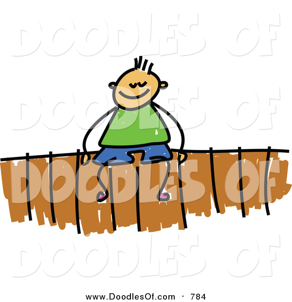 Vector Clipart of a Doodled White Boy Sitting on a Fence