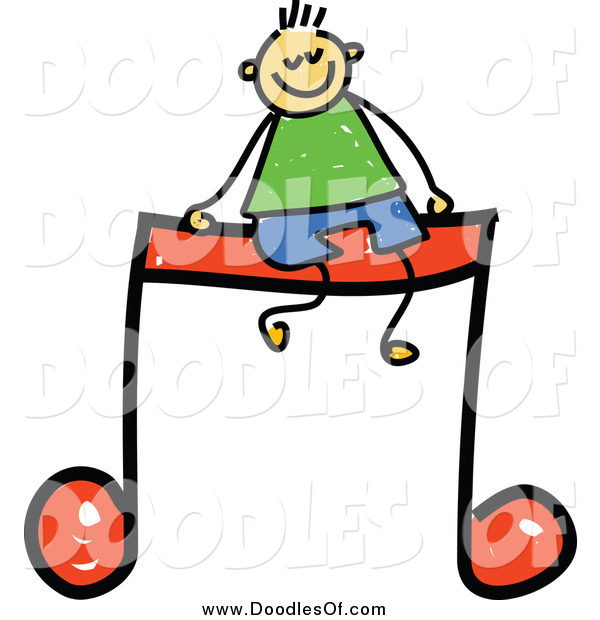 Vector Clipart of a Doodled White Boy Sitting on a Music Note