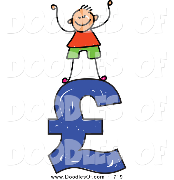 Vector Clipart of a Doodled White Boy Standing on a Blue Pound