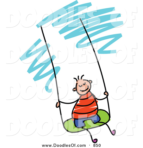 Vector Clipart of a Doodled White Boy Swinging