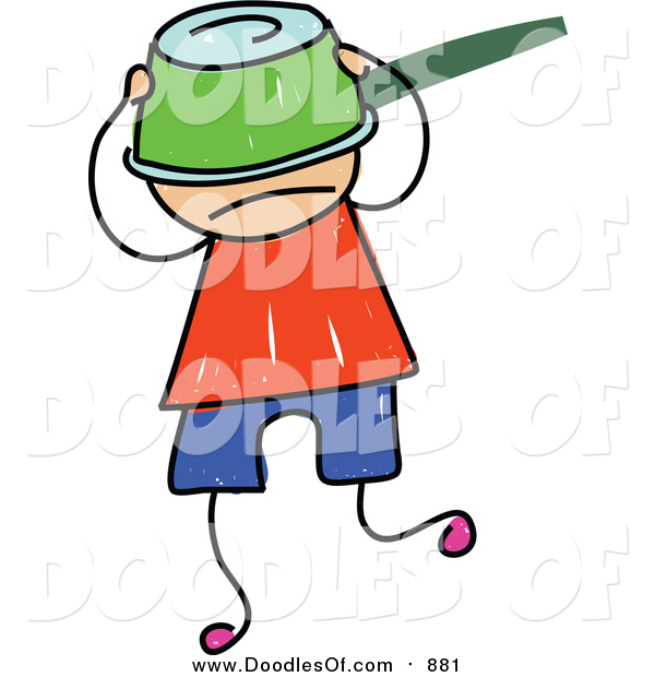 Vector Clipart of a Doodled White Boy with a Pot on His Head