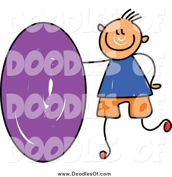 Vector Clipart of a Doodled White Boy with a Purple Oval