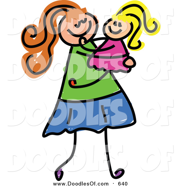 Vector Clipart of a Doodled White Mom Carrying Her Daughter