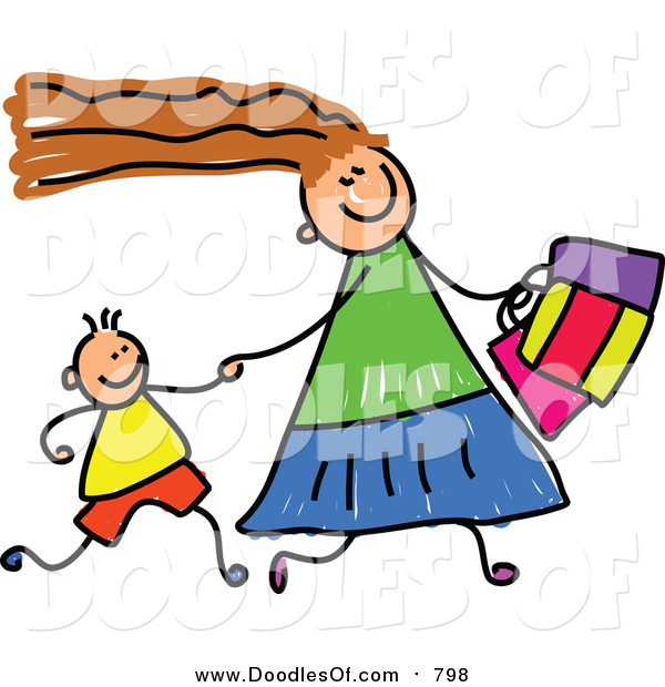 Vector Clipart of a Doodled White Mom Shopping with Her Son