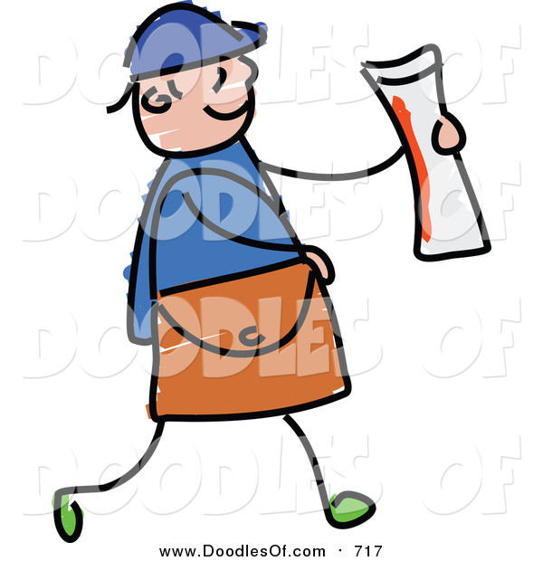 Vector Clipart of a Doodled White Paper Boy Holding a Newspaper