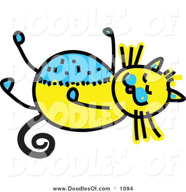 Vector Clipart of a Doodled Yellow and Blue Cat Resting