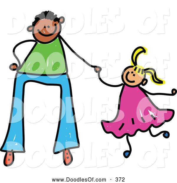 Vector Clipart of a Father Holding Hands with His Little Daughter