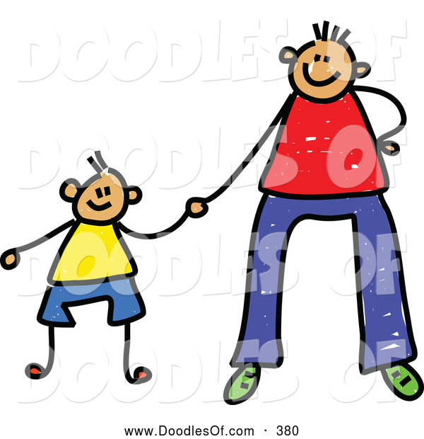 Vector Clipart of a Father Holding Hands with His Son on Father
