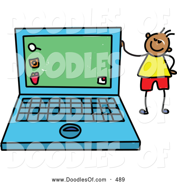 Vector Clipart of a Friendly Boy Standing by a Laptop