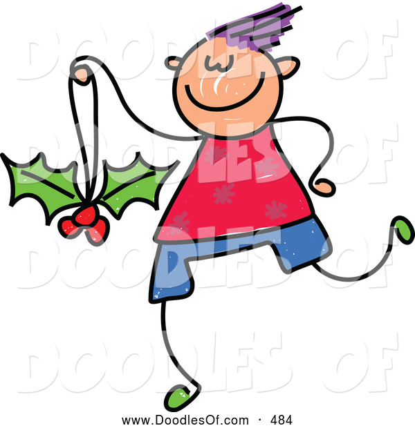 Vector Clipart of a Friendly Boy with a Holly Ornament