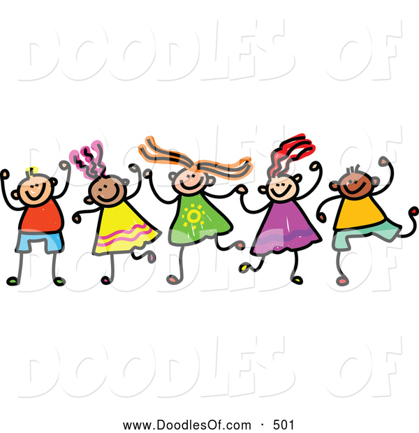 Vector Clipart of a Friendly Childs Sketch of Boys and Girls Holding Hands