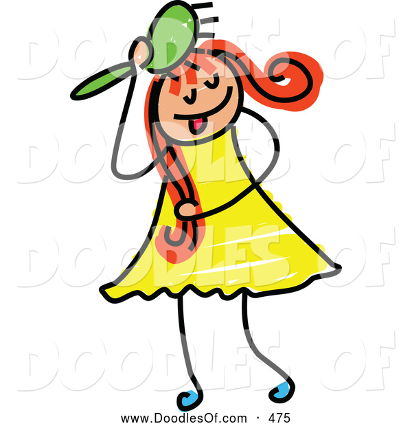 Vector Clipart of a Friendly Girl Brushing Her Hair