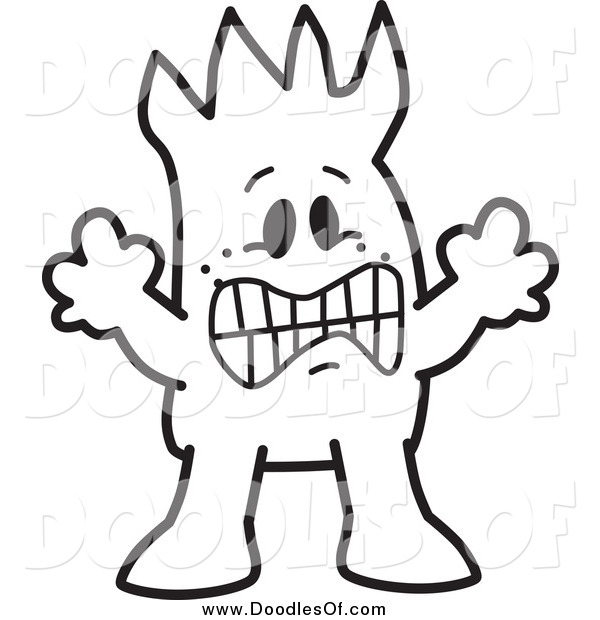 Vector Clipart of a Frightened Doodled Squiggle Guy