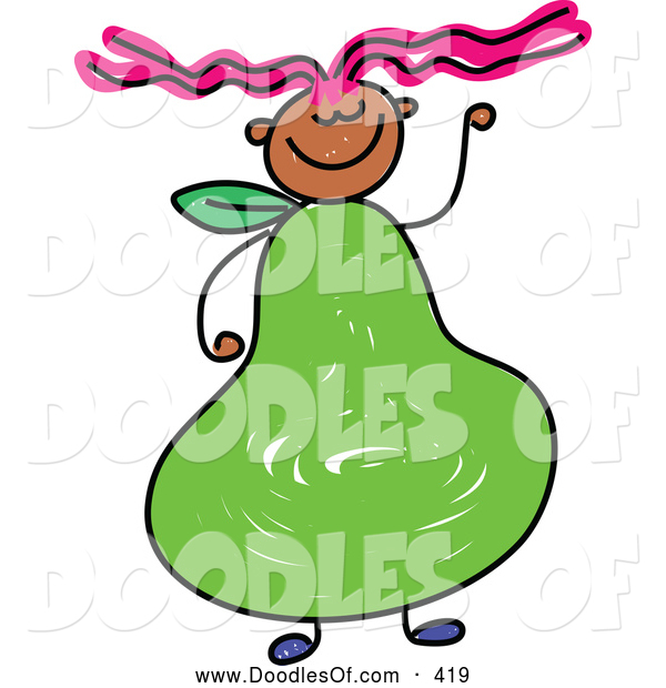 Vector Clipart of a Girl with a Pear Fruit Body