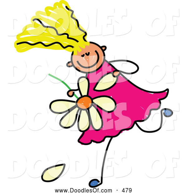 Vector Clipart of a Grinning Blond Girl Playing He Loves Me, He Loves Me Not