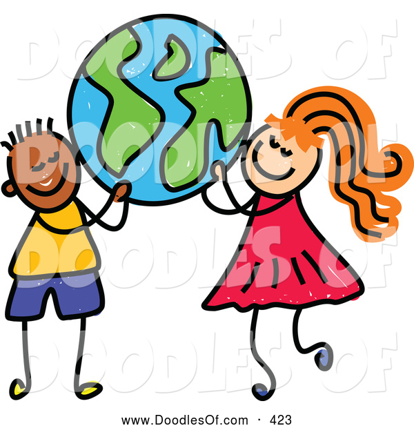 Vector Clipart of a Grinning Boy and a Girl Carrying a Globe