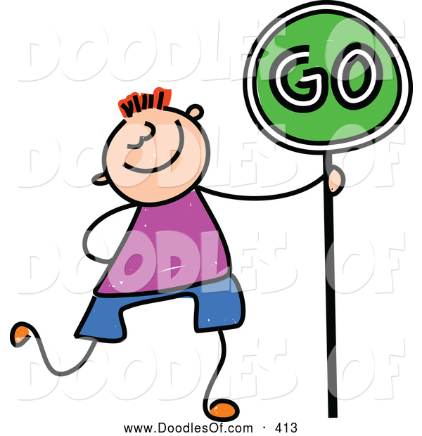 Vector Clipart of a Grinning Boy Walking with a Go Sign