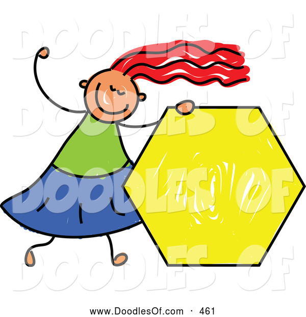 Vector Clipart of a Grinning Girl Holding a Yellow Hexagon