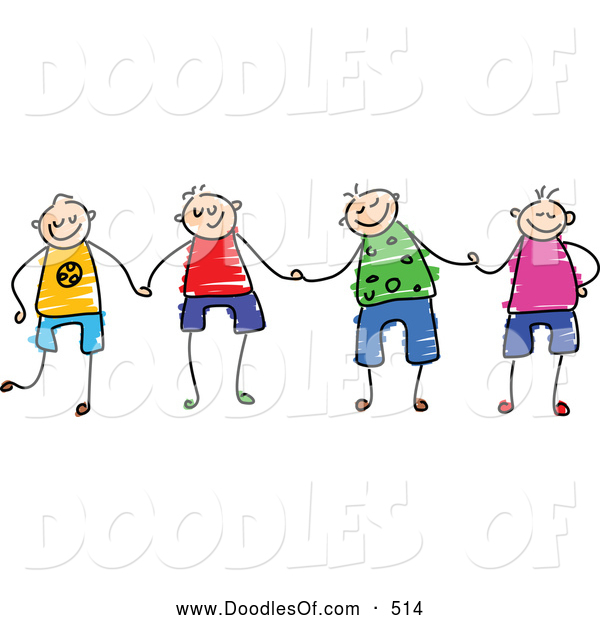 Vector Clipart of a Group of Happy Stick Figure Boys Holding Hands