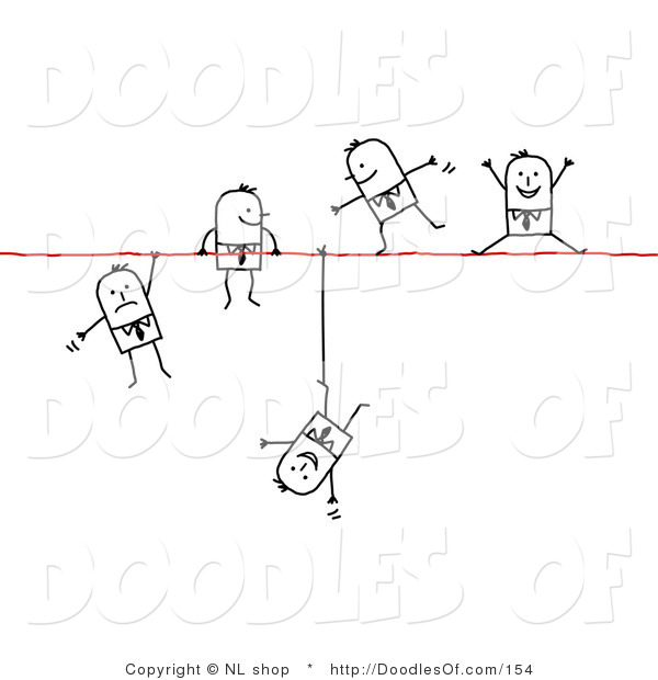 Vector Clipart of a Group of Stick Figure People Business Men Walking, Falling and Hanging on a Wire