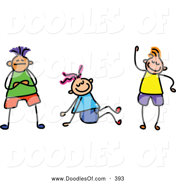 Vector Clipart of a Group of Three Friendly Kids