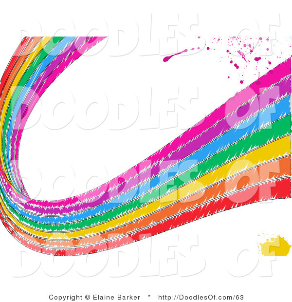Vector Clipart of a Grungy Sketched Rainbow Curving over White with Pink Splatters