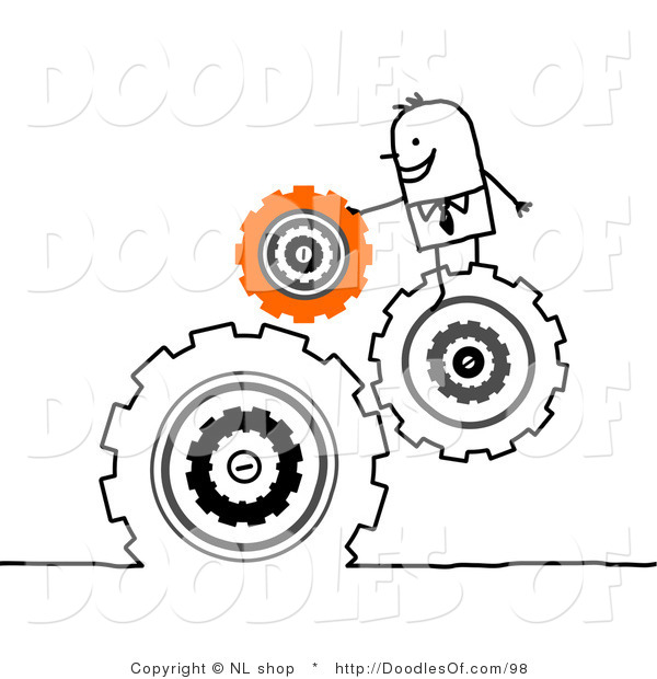 Vector Clipart of a Handy Stick Person Business Man Directing Turning Gears