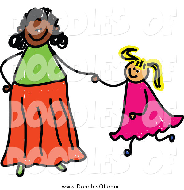 Vector Clipart of a Happy Adoptive Mom Holding Hand with Her Blond Daughter