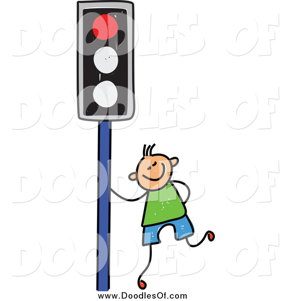 Vector Clipart of a Happy Blond Haired White Doodled Boy by a Red Traffic Light