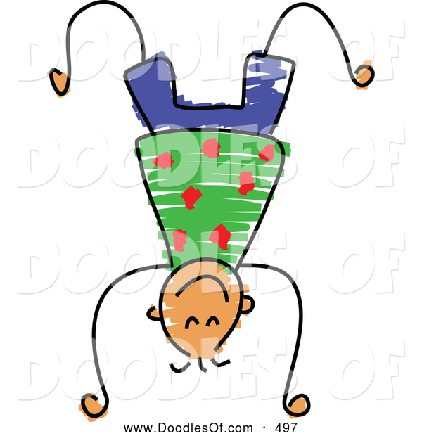 Vector Clipart of a Happy Boy Doing a Hand Stand