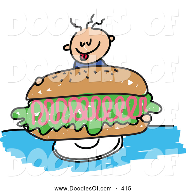 Vector Clipart of a Happy Boy Holding a Giant Ham Sandwich